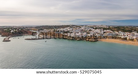 Aerial panorama the harbor and the town of Albufeira.
