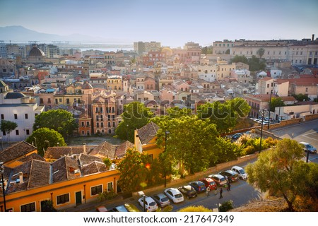 Aerial panorama view of Cagliari Sardinia, Italy - stock photo
