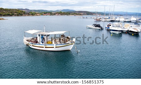 Aerial panoramic view of a marina with boats in Chalkidiki, Greece.