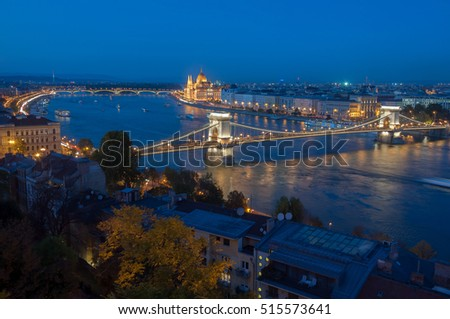 Aerial panoramic view of Budapest city from Castle Hill with Danube river, Chain Bridge and Parliament Building at twilight. Location: Budapest, Hungary, Europe