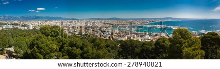 aerial panoramic view of Palma de Mallorca, Spain - stock photo
