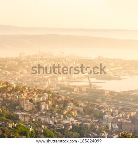 Aerial panoramic view of Trieste, Italy, Europe. - stock photo