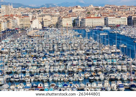 Aerial panoramic view on old port  in Marseille, France - stock photo
