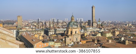 aerial panoramic view to Bologna in Italy - stock photo