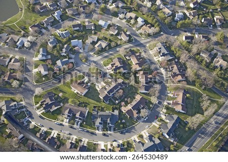 Aerial pattern of residential homes in circle outside of Philadelphia Pennsylvania, New Jersey - stock photo