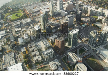 Aerial perspective of buildings in downtown Bellevue, WA - stock photo