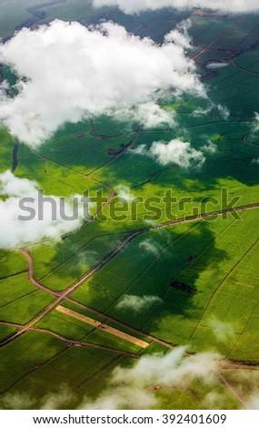 Aerial Photo Above Maui Sugar Fields - stock photo