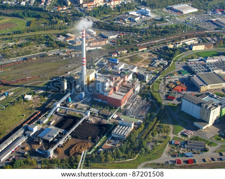 Aerial photo of a factory with railway station. City Pilsen, Czech republic, European union. - stock photo