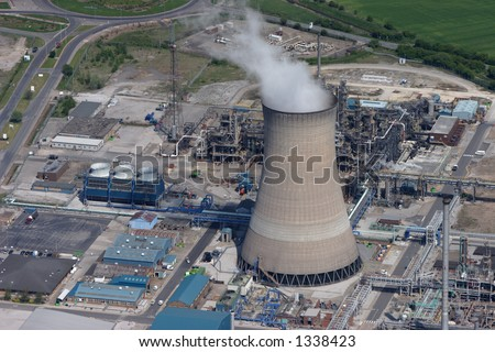 Aerial photo of a Gas fired power station near Hull England - stock photo