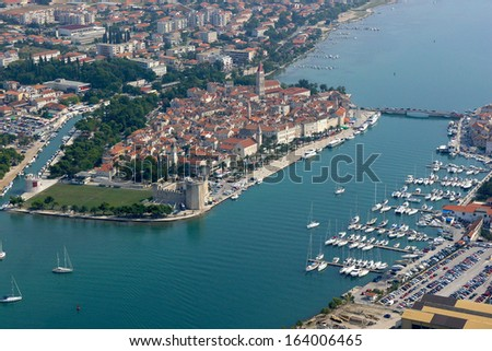 Aerial photo of city Trogir - stock photo
