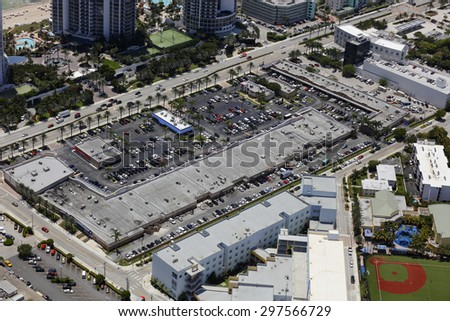 Aerial photo of commercial shopping centers - stock photo