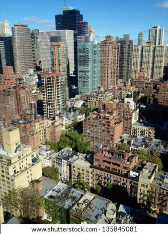 Aerial photo of East Midtown Manhattan, New York, NY, USA. - stock photo