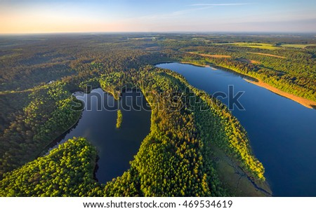 Aerial photo of lakes in National park Narachanski (Belarus)