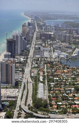 Aerial photo of Miami Beach FL - stock photo