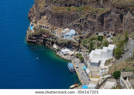 Aerial photo of old port in Santorini island, Greece - stock photo
