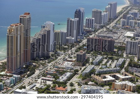Aerial photo of shopping plazas in Sunny Isles Beach FL - stock photo