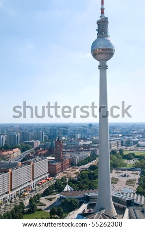 aerial photo of th berlin television tower and skyline - stock photo