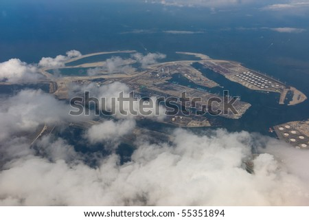 Aerial photo of the Botlek area near Rotterdam seaport in the Netherlands - stock photo