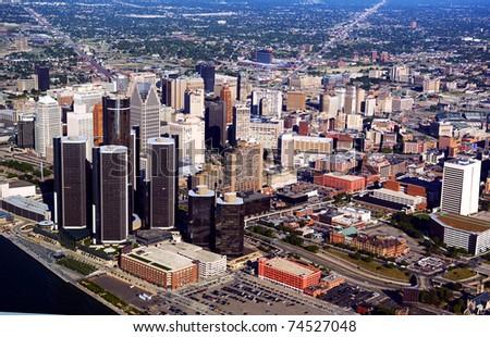 Aerial photo of the Motorcity Detroit Michigan - stock photo