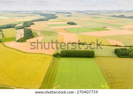 Aerial photograph area on agriculture and village - stock photo