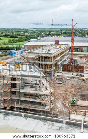 Aerial photograph of a building site in Ireland. - stock photo