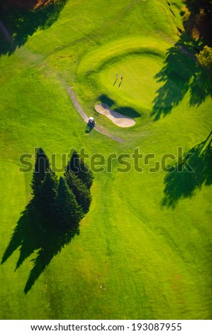 Aerial photograph of a hole and sand dune - stock photo
