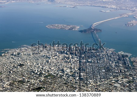 Aerial Photograph of downtown San Francisco and the Bay - stock photo