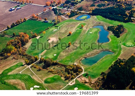 Aerial photograph of fall landscape - stock photo