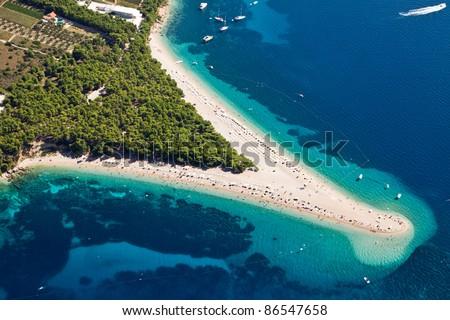 Aerial photograph of famous Zlatni Rat beach in Bol, Brac Island - stock photo