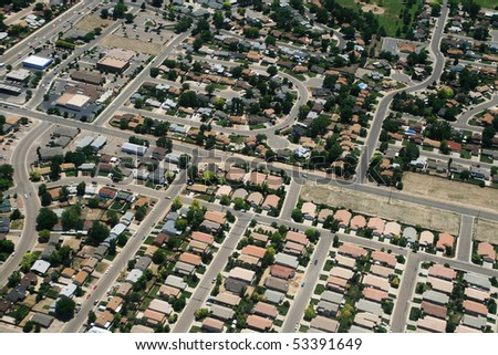 aerial photograph of housing in a town in the USA - stock photo
