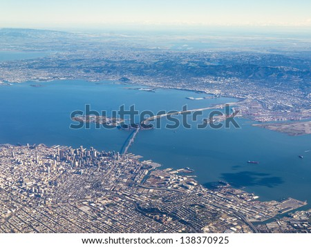 Aerial Photograph of San Francisco and The Bay Area - stock photo