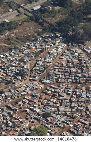 Aerial photograph of Soweto - stock photo