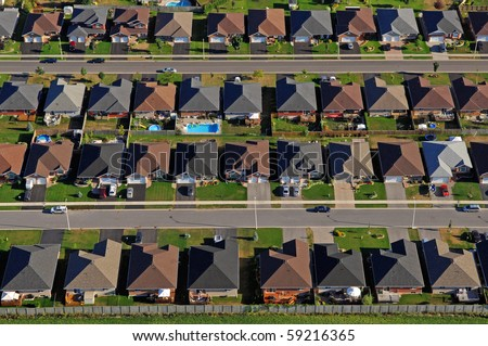 Aerial photograph of the North American suburb. - stock photo