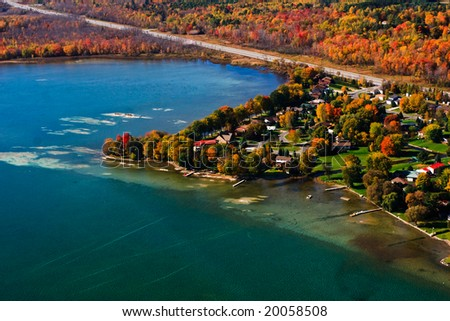 Aerial photograph of the rural countryside during peak the peak color - stock photo