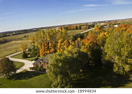 Aerial photographs of the beautiful fall colours in the countryside - stock photo