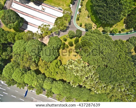 Aerial photography bird-eye view of park trees landscape