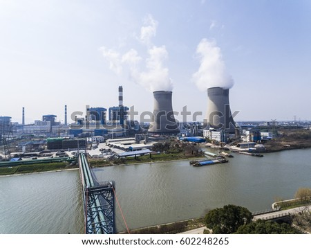 Aerial photography bird-eye view of Thermal power plant and chimney