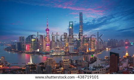 Aerial photography bird view at Shanghai bund Skyline of dusk