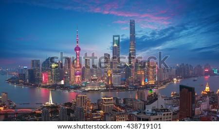 Aerial photography bird view at Shanghai bund Skyline of dusk  - stock photo