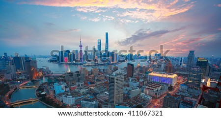 Aerial photography bird view at Shanghai bund Skyline of of dusk  - stock photo