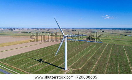Aerial photography of a wind turbine in Bouin, Vendee, France