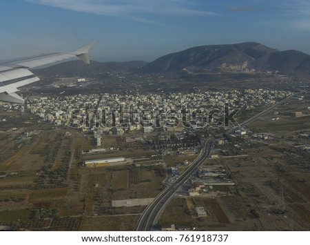 Aerial Photography Of Athens Greece Plane Flying Over The Mainland Attica On Way