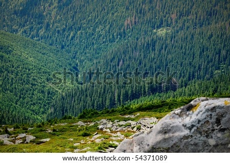 aerial photography of the landscape of high mountains, removed from a height of 2000 meters - stock photo