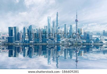 Aerial photography Shanghai skyline at Lujiazui - stock photo