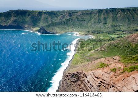 Aerial picture of a part of Molokai island coast, Hawaii - stock photo