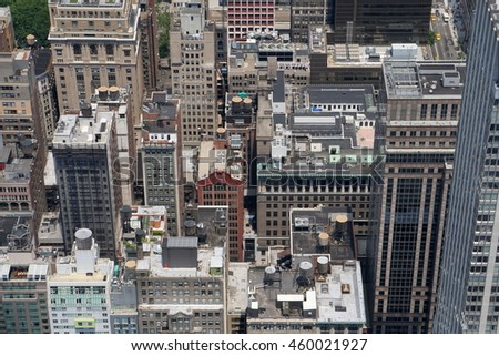 Aerial Rooftop Photo Of Midtown Manhattan Apartment Buildings In New York  City. Looking Down On