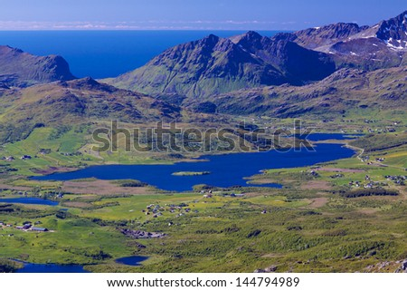 Aerial scenic panorama of Lofoten islands in Norway during summer - stock photo
