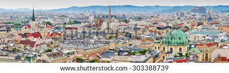 Aerial scenic panoramic view of city center of Vienna seen from St. Stephen's Cathedral in Austria - stock photo
