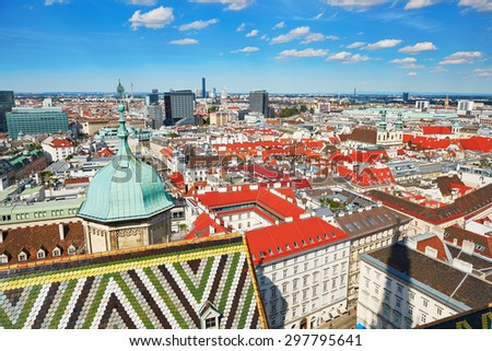 Aerial scenic view of city center of Vienna seen from St. Stephen's Cathedral in Austria - stock photo