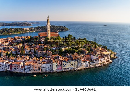 Aerial shoot of Old town Rovinj at sunset, Istra region, Croatia. - stock photo